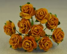 1.5cm GOLDEN OLD GOLD Mulberry Paper Roses